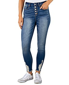 Juniors Distressed High Rise Button-Fly Jeans