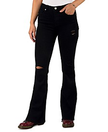Juniors Distressed High-Rise Flare Jeans