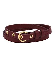C-Buckle Double Wrap Leather Bracelet