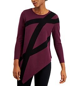 Petite Asymmetrical Printed Sweater