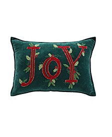 "Joy 14"" x 22"" Velvet Decorative Pillow, Created For Macy's"