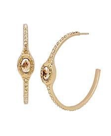Signature Logo Swarovski® Crystals Pave Hoop Earrings