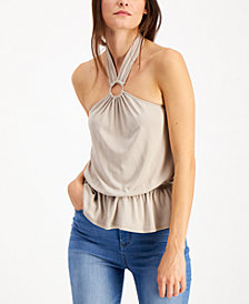 INC O-Ring Peplum Halter Top, Created for Macy's