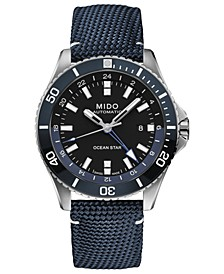 Men's Swiss Automatic Ocean Star GMT Blue Fabric Strap Watch 44mm