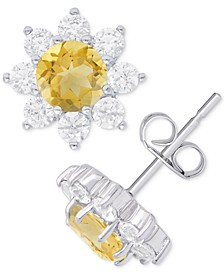 Citrine (3/4 ct. t.w.) & Cubic Zirconia Flower Stud Earrings in Sterling Silver