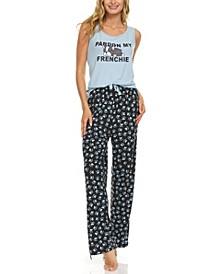 Women's Plus Size Printed Sleeveless Top and Pajama Pants Set