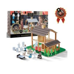 Fao Schwarz Toy Wood Dollhouse with Accessories 21pc