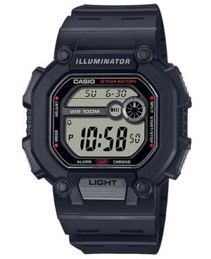 Men's Digital Black Resin Strap Watch 51.9mm