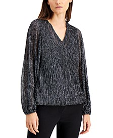 Metallic Surplice Top, Created for Macy's