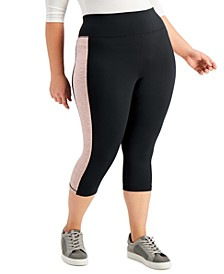 Plus Size Colorblocked Capri Leggings, Created for Macy's