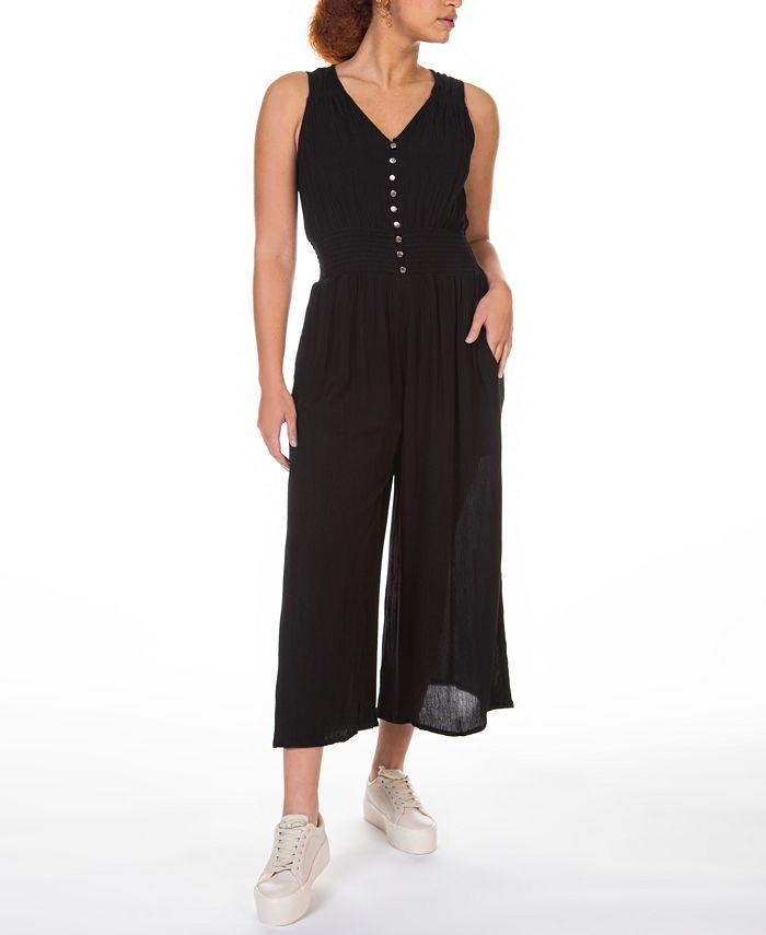 Black Tape - Petite Smocked-Waist Culotte Jumpsuit