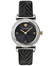 Women's Swiss V Motif Black Leather Strap Watch 35mm