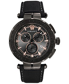 Men's Swiss Chronograph Greca Black Leather Strap Watch 45mm