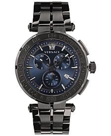 Men's Swiss Chronograph Greca Gray Stainless Steel Bracelet Watch 45mm