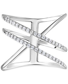 Diamond Open Crossover Statement Ring (1/4 ct. t.w.) in Sterling Silver