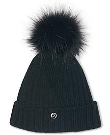 Fleece-Lined Knit Pom Pom Hat