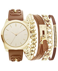 Women's Brown Polyurethane Strap Watch 36mm, Gift Set
