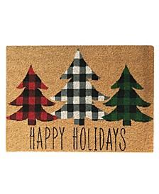 Holiday Plaid Christmas Tree Coir Doormat