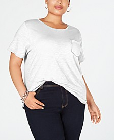 INC Plus Size Rhinestone-Pocket T-Shirt, Created for Macy's