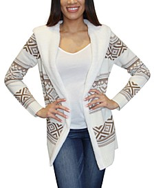 Juniors' Patterned Sherpa-Trim Cardigan
