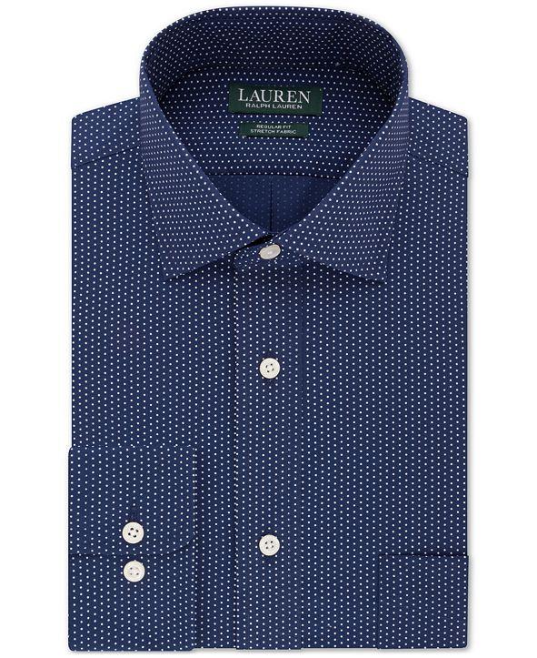 Lauren Ralph Lauren Men's Classic/Regular-Fit Non-Iron Ultraflex Performance Stretch Dot Dress Shirt