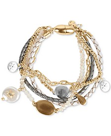 Two-Tone Crystal & Imitation Pearl Charm Leather & Beaded Multi-Row Magnetic Bracelet
