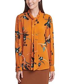 Floral-Print Long-Sleeve Tie-Neck Blouse