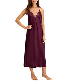 INC Lace-Trim Satin Long Chemise Nightgown, Created for Macy's