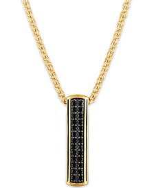 "Black Sapphire Vertical Bar 22"" Pendant Necklace (3/4 ct. t.w.) in 14k Gold-Plated Sterling Silver, Created for Macy's"