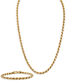 """2-Pc. Set 22"""" Rope Link Chain Necklace & Matching Bracelet in 14k Gold-Plated Sterling Silver, Created for Macy's"""