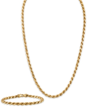 """2-Pc. Set 22"""" Rope Link Chain Necklace & Matching Bracelet in 14k Gold-Plated Sterling Silver"""