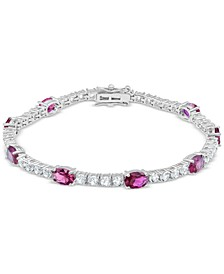 Lab-Created Ruby (6 ct. t.w.) & White Topaz (4 ct. t.w.) Link Bracelet in Sterling Silver (Also in Blue Topaz, Citrine, Lab-Created Opal, Lab-Created Blue Sapphire, Emerald, & Amethyst)