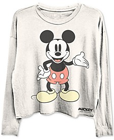 Cropped Mickey Mouse Long Sleeve Graphic T-shirt