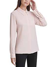 Long-Sleeve Button-Down Blouse
