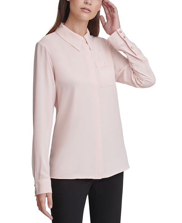 Calvin Klein Long-Sleeve Button-Down Blouse