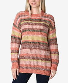 Juniors' Striped Tunic Sweater