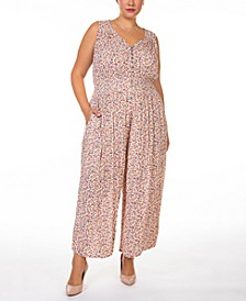 Plus Size Floral-Print Smocked-Waist Button-Front Jumpsuit