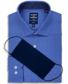 Men's Slim-Fit Non-Iron Performance Stretch Geo-Print Dress Shirt with Pleated Face Mask