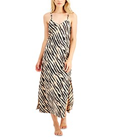 INC Satin Zebra-Print Long Chemise Nightgown, Created for Macy's