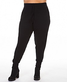 Plus Size Drawstring Knitted Jogger Pants
