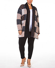 Black Tape Plus Size Open-Front Eyelash Cardigan Sweater