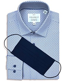 Con.Struct Men's Slim-Fit 4-Way Performance Stretch Geo-Print Dress Shirt with Pleated Face Mask, Created for Macy's