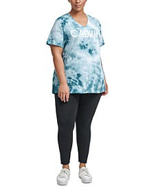 Plus Size Performance Tie-Dyed V-Neck Logo Top