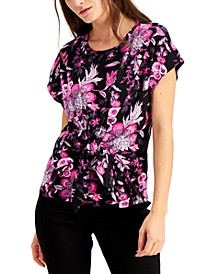 INC Cotton Printed Tie-Front Top, Created for Macy's