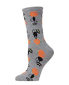Women's Pumpkin Cat Halloween Crew Socks