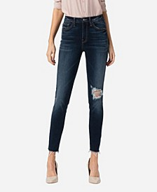 Women's High Rise Raw Hem Skinny Crop Jeans
