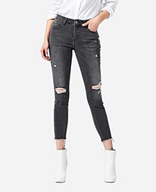 Women's Mid Rise Distressed Raw Hem Skinny Ankle Jeans