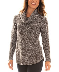 Juniors' Cowl-Neck Boucle Sweater