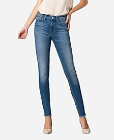 Women's Mid Rise Raw Hem Skinny Ankle Jeans