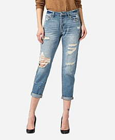 Women's Distressed Paint Splatter Boyfriend Jeans